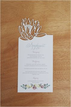 laser cut protea invitation from ribbon wedding stationery