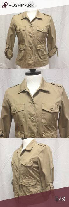 Large Lightweight Khaki Jacket by Lucky Brand NWT Very nice and stylish Khaki Jacket by Lucky Brand  Lightweight perfect for the spring and summer nights   It's Brand new with Tag showing Retail at $99  The back looks like it got dirty. Probably fell to the floor while at retail store.  It will wash out   It's a size Large  Mannequin is a size 12/14  See pictures and make an offer I accept most offers . . . 4/9/18 Lucky Brand Jackets & Coats Pea Coats