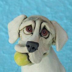 Labrador Retriever Dog Holding Tennis Ball Ceramic Sculpture, via Etsy.