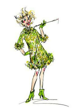 "Phylis Diller costume by Ret Turner, sketch by Bob Mackie ""If only I was strong instead of beautiful"" Fashion Model Sketch, Fashion Sketches, Fashion Illustrations, Fashion Models, Phyllis Diller, Cool Costumes, Amazing Costumes, Dress Sketches, Bob Mackie"