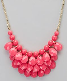 Look what I found on #zulily! Polka Dotsy Hot Pink Teardrop Bib Necklace by Polka Dotsy #zulilyfinds