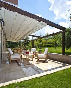 The wooden pergola is a good solution to add beauty to your garden. If you are not ready to spend thousands of dollars for building a cozy pergola then you may devise new strategies of trying out something different so that you can re Pergola Canopy, Pergola With Roof, Outdoor Pergola, Wooden Pergola, Covered Pergola, Backyard Pergola, Pergola Shade, Patio Roof, Outdoor Rooms