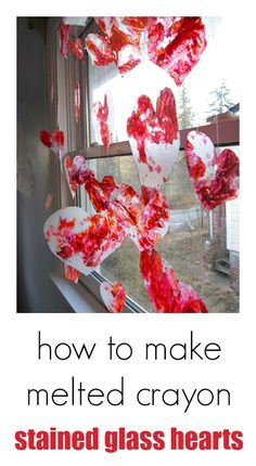 How to make melted crayon stained glass hearts with kids
