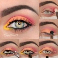Tropical Sunrise inspired makeup with blue eyes. Absolutely gorgeous.♡
