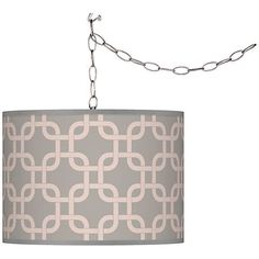 Swag Style Smoke Lattice Giclee Shade Plug-In Chandelier - #F9542-5D852 | Lamps Plus
