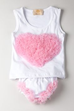 Mia Belle Baby  White Bloomers with Pink Ruffled Heart and Matching Top with Heart  $22.50