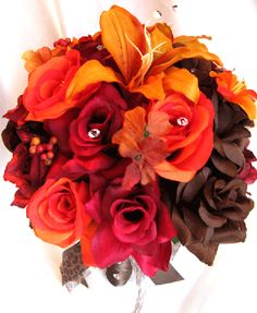 brown and maroon fall wedding | Wedding Bouquet Bridal Silk Flowers Fall Brown Orange Lily 17pc ...
