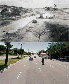 O 'antes e depois' da Capela Santa Terezinha, na avenida Leste Oeste.