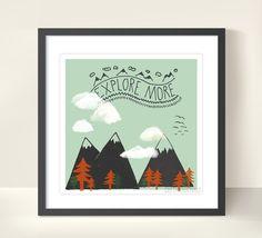 """Illustrationen - Druck """"Explore more"""" 20x20cm - ein Designerstück von TreeChild bei DaWanda"""