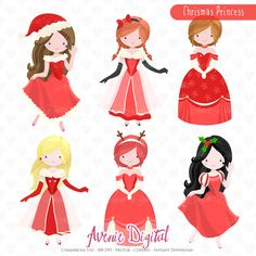 Christmas Princess Clipart. Scrapbook printables Winter holiday girls set for Commercial Use. Vector graphics, Mrs Claus Party images Best Choice for cards, invitations, printing, party packs. blog backgrounds, paper craft, party invitations, digital scrapbooking, photography album backgrounds and all creative projects! ? What you will Receive: 1 Zip File containing 6x 300dpi PNG Digital Clipart and 1 EPS file fully customizable in illustrator.