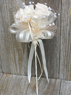 Preserved Rose and Pearl Bridesmaids Bouquet Flower Girl Wand Budget Alternative to Brooch. $47.50, via Etsy.