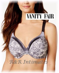 Vanity Fair Body Illumination Full Figure Contour Bra, 76338, Gray, 38DD…