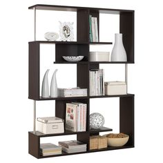 Bring contemporary appeal to your living room or den with this eye-catching bookcase, showcasing a geometric silhouette and 5 open shelves for displaying fra. Modern Bookshelf, Bookshelves, Open Shelving, Storage Shelves, Hallway Storage, Cabinet Storage, Colorful Furniture, Cool Furniture, Entertainment Room