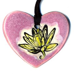 Lotus Flower Ceramic Heart Necklace in Pink by surly on Etsy, $20.00