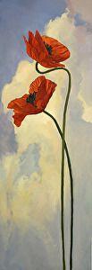 Entwined Poppies by Jan Schmuckal Oil ~ 60 x 20