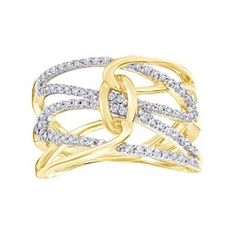 1/3 Ct Round Cut Natural Diamond 10K Yellow Gold Interlooking Engagement Ring # With Free Stud Earring by JewelryHub on Opensky