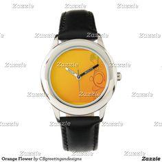 Orange Flower Wrist Watch