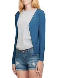 LE3NO Womens Soft Fitted Basic Cardigan Sweater | LE3NO Women's Cardigans, Cardigans For Women, Sweaters, Stylish Outfits, Sweater Cardigan, V Neck, Fitness, Fabric, Sleeves
