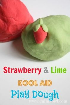 NO COOK  - Strawberry and Lime Kool Aid Play Dough. So easy to make!