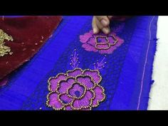Sugar beads (hand embroidery) over satin stitch flower (machine embroidery) - YouTube