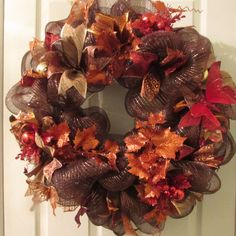 Thanksgiving Deco Mesh Wreath | Front Door Wreath for Fall Season | Brown Wreath for Autumn with Orange and Red Butterflies |  Fall Wreath