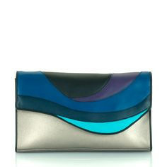 #myessentialmywalit The clutch with a bold, colourful wave design and metallic base.