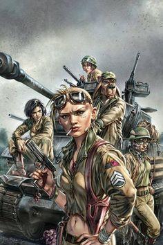 World War Tank Girl Cover art for Titan Comics Jason Voorhees, Mad Max, Steampunk, Tank Girl Comic, Jet Girl, Post Apocalyptic Art, Girl Posters, Cyberpunk Art, Arte Horror