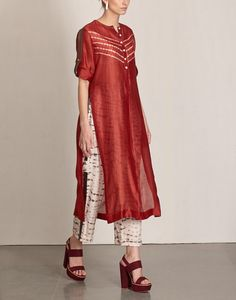 Buy Shibori Wine Tunic Available at Ogaan Online Shop