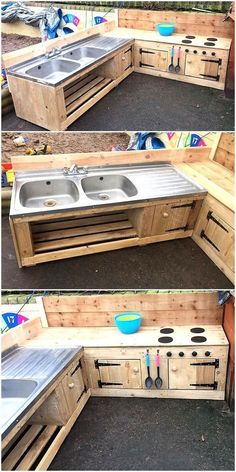 Those who love the natural beauty can arrange a kitchen in the patio for which here is an amazing repurposed wood pallet patio kitchen and sink idea. There is a space under the sink to store the kitch (Diy Furniture For Kids) Pallet Desk, Bar Pallet, Pallet Patio Furniture, Rustic Furniture, Diy Furniture, Furniture Projects, Pallet Wood, Playhouse Furniture, Pallet Kids