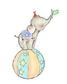 Children's Art CIRCUS ELEPHANT Archival Art by trafalgarssquare, $10.00