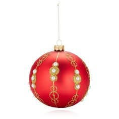Thomas Glenn Holiday Eleanor in Red Ornament (1,465 THB) ❤ liked on Polyvore featuring home, home decor, holiday decorations, glass ornaments, red home accessories, glass home decor, red ornaments and red home decor