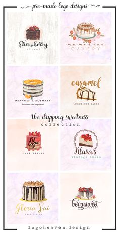 The Dripping Sweetness Collection ~ Beautiful Cakery Bakery Pre-made Logo designs Pastry Logo, Pastry And Bakery, Pastry Shop, Shop Name Ideas, Cafe Names Ideas, Bakery Shop Interior, Cake Boxes Packaging, Bakery Names, Dessert Logo