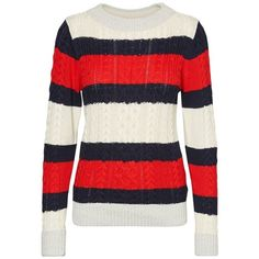 Striped Chunky Knit Jumper VERO MODA ($35) ❤ liked on Polyvore featuring tops, sweaters, striped top, jumper tops, vero moda tops, stripe sweater and vero moda