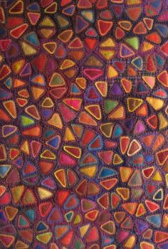 This is raw-edged applique, but it's an interesting idea for reverse applique with silk scraps. ©Maryline Collioud-Robert Epices, Machine pieced and appliquéd, hand quilted Patchwork Quilting, Applique Quilts, Hand Quilting, Wool Applique, Crazy Quilting, Art Fibres Textiles, Textile Fiber Art, Reverse Applique, Quilt Modernen