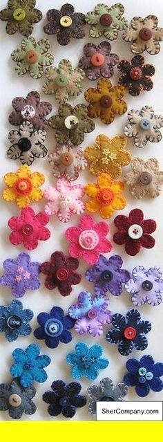 Bright Flowers Spring Summer Sewing Dress It Up Craft Buttons SEW THRU POSIES
