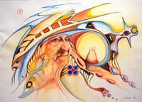 Medicine Man and His Vision - Contemporary Canadian Native, Inuit & Aboriginal Art - Bearclaw Gallery, by Ed Cobiness Modern Indian Art, Bear Claws, Native American Artists, Aboriginal Art, First Nations, Artsy Fartsy, Nativity, Medicine, Princess Zelda