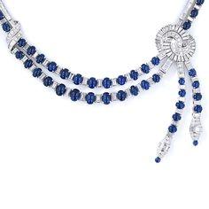 Platinum, Diamond and Cabochon Sapphire Art Deco Style Necklace
