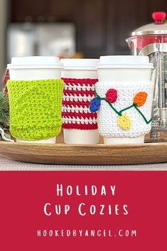 There is nothing like sipping your favorite beverage out of a cute cup on a cold winter day! These hand-crocheted cozies slip on any 16oz travel cup. Choose from 3 festive holiday designs for gifting to the special people on your gift buying list. They can cozy up this season with a cup that reminds them of you every time they use it. Crochet Teacher Gifts, Crochet Christmas Gifts, Holiday Crochet, Teacher Christmas Gifts, Crochet Gifts, Holiday Gifts, Crochet Winter, Christmas Crafts, Crochet Coffee Cozy