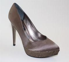 Women's Shoes NINA Rinalda Platform Dress Pumps Heels SATIN Malinda Taupe Pewter