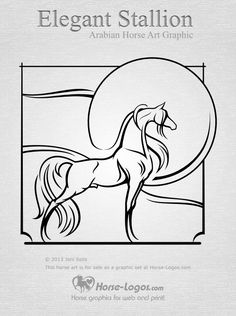 An elegant and stylized Arabian stallion graphic design. Set of graphics sold here: Elegant Stallion - Arabian horse clip art set - http://www.horse-logos.com/horse-clip-art-c-5/arabian-horses-c-5_6/elegant-stallion-arabian-horse-clip-art-set-p-50.html #horse #art #equine #design #clipart #Arabian #equestrian