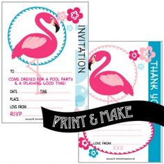 FREE! Printable flamingo themed pool party invitations with FREE flamingo themed thank you note by Style My Party