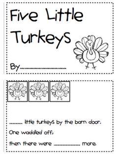 5 little Turkeys Emergent Reader & other activities!
