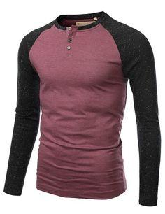 Mens Henley Color Blocked Raglan T-Shirt #doublju