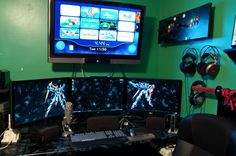 I wish we could have a gaming set up like this!