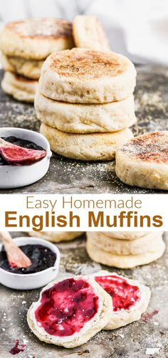 Soft, chewy and so much better than store-bought, these English Muffins can be made by even the most amateur cook, using simple pantry ingredients and cooked on a skillet or griddle. via @betrfromscratch Muffin Recipes, Bread Recipes, Bisquick Recipes, Good Food, Yummy Food, Delicious Recipes, Homemade English Muffins, Homemade White Bread, Types Of Bread