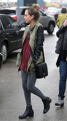 Seen on Celebrity Style Guide: Jessica Alba wore the Sanctuary Vegan Leather Army Jacket as she arrives at LAX in Los Angeles, California December 1, 2012