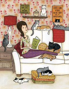 Crazy Cat Lady, Lady sitting on couch with cats reading books art print, cat painting, cat ornament Crazy Cat Lady Jamie Morath Arte Crazy Cat Lady, Crazy Cats, Cat Reading, Reading Books, Cat Whisperer, F2 Savannah Cat, I Love Cats, Cat Art, Cats And Kittens