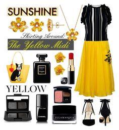 """Skirting Around: The Yellow Midi"" by curekitty on Polyvore featuring Parlor, 3.1 Phillip Lim, Nine West, David Tutera, Chanel, NARS Cosmetics, Illamasqua, Christian Dior, Marc Tetro and Spring"