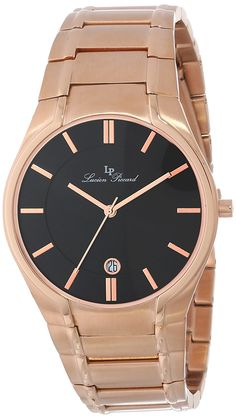 Lucien Piccard Men's LP-10607-RG-11 Davos Black Dial Rose Gold Ion-Plated Stainless Steel Watch *** Learn more by visiting the image link. Lucien Piccard, Davos, Rolex Watches, Wrist Watches, Stainless Steel Watch, Gold Watch, Omega Watch, Plating, Rose Gold