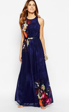 Blue Floral Sleeveless Floor Length Maxi Dress - Love that the pattern is not over-powering Pretty Outfits, Pretty Dresses, Beautiful Outfits, Maxi Dress Wedding, Bridesmaid Dress, Maxi Robes, Costume, Dress Me Up, Dress To Impress